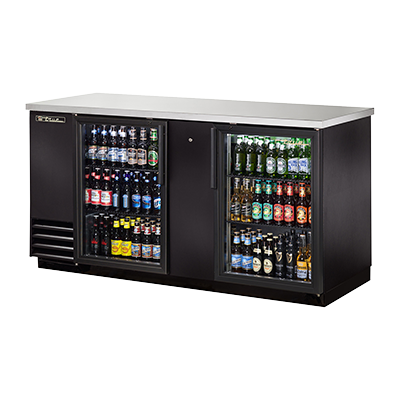 "superior-equipment-supply - True Food Service Equipment - True Two-Section Two Glass Door Black Vinyl Exterior Backbar Cooler 70""W"