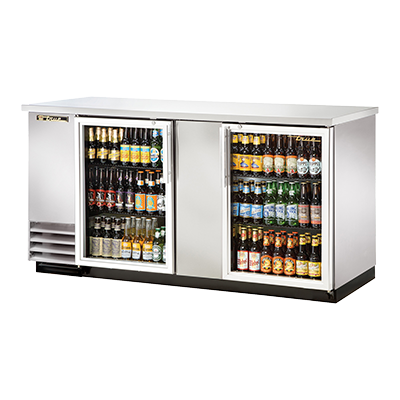 "True Two-Section Two Glass Door Stainless Steel Exterior Backbar Cooler 70""W"