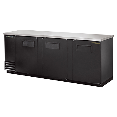 "superior-equipment-supply - True Food Service Equipment - True Three-Section Three Door Black Vinyl Exterior Backbar Cooler 90""W"