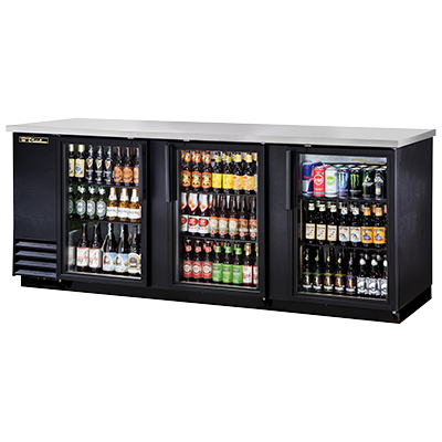 "superior-equipment-supply - True Food Service Equipment - True Three-Section Three Glass Door Black Vinyl Exterior Backbar Cooler 90""W"