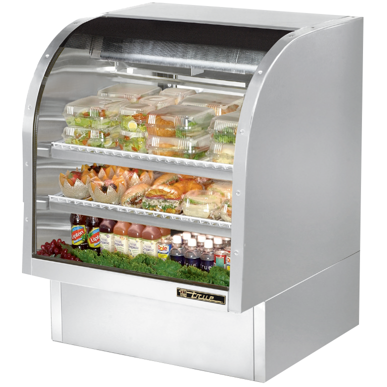 "superior-equipment-supply - True Food Service Equipment - True Stainless Steel Curved Glass Display Case 36""W Self-Contained Refrigeration"