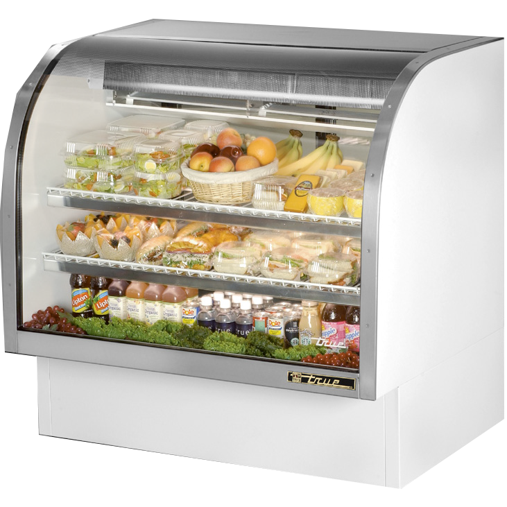 "True White Vinyl Self-Contained Refrigeration Curved Glass Display Case 48""W"