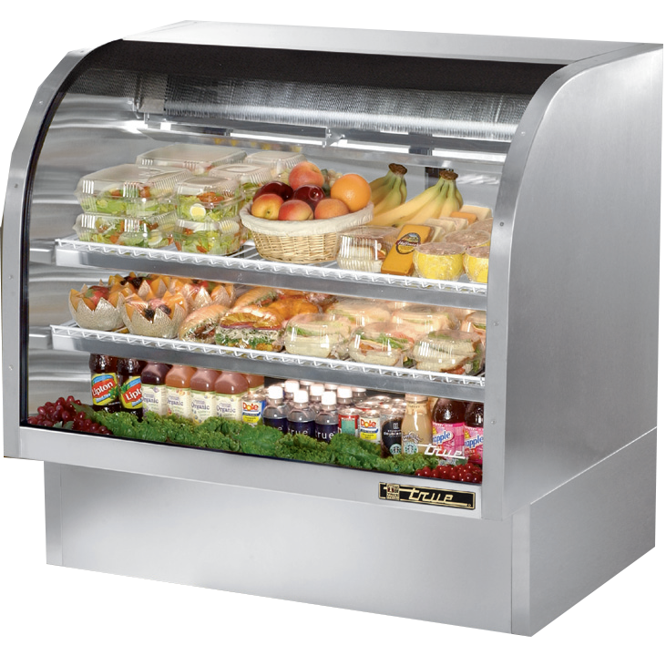 "True Stainless Steel Curved Glass Display Case 48"" Self-Contained Refrigeration"