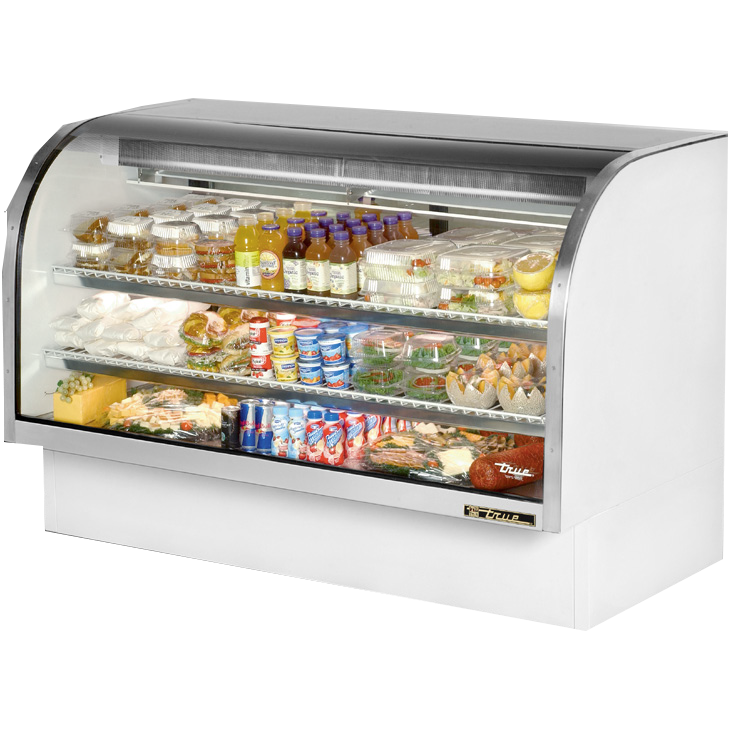 "True Self-Contained Refrigeration Curved Glass Display Case 72""W"