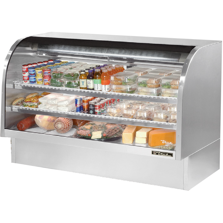 "superior-equipment-supply - True Food Service Equipment - True Stainless Steel Curved Glass Display Case 72""W Self-Contained Refrigeration"