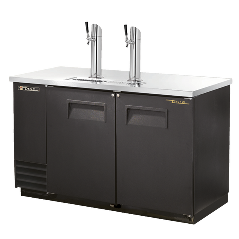 "superior-equipment-supply - True Food Service Equipment - True Two Door (2) Tap Dispenser (2) Keg Capacity Black Vinyl Exterior Draft Beer Cooler 59""W"