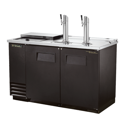 "superior-equipment-supply - True Food Service Equipment - True Two Door Black Vinyl Exterior Club Top Draft Beer Cooler 59""W"