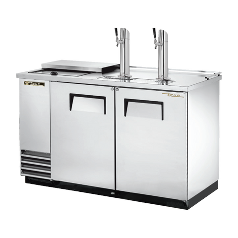 "superior-equipment-supply - True Food Service Equipment - True Two Door (2) Tap Stainless Steel Exterior Club Top Draft Beer Cooler 59""W"