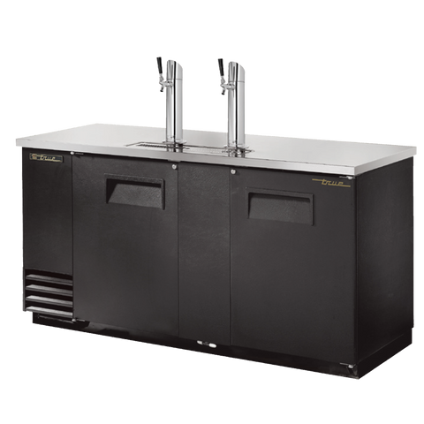 "superior-equipment-supply - True Food Service Equipment - True Two Door (3) Keg Black Vinyl Exterior Draft Beer Cooler 69""W"