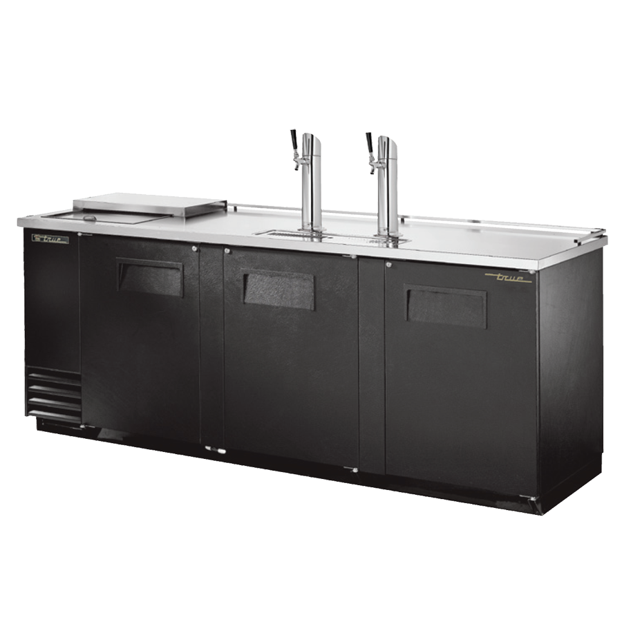 "superior-equipment-supply - True Food Service Equipment - True Three Door (4) Keg Black Vinyl Exterior Club Top Draft Beer Cooler 90""W"