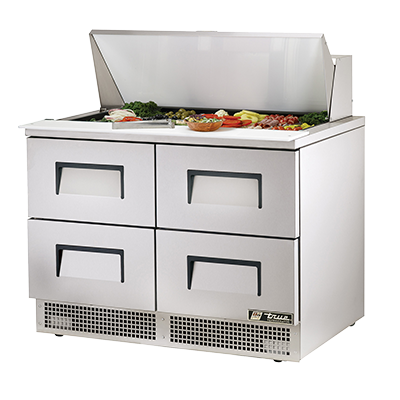 superior-equipment-supply - True Food Service Equipment - True Two-Section Four Drawers Stainless Steel Exterior Sandwich/Salad Prep Table