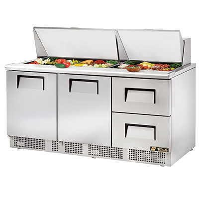 "True Three-Section Two Door Two Drawer Sandwich/Salad Prep Table 72""W"