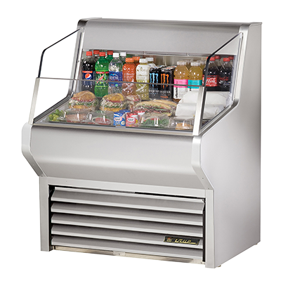 True Stainless Steel Self-Contained Horizontal Air Curtain Merchandiser