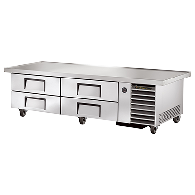 "superior-equipment-supply - True Food Service Equipment - True Stainless Steel Four Drawer 86"" Wide Refrigerated Chef Base"