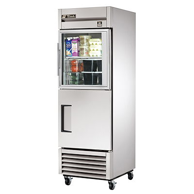 superior-equipment-supply - True Food Service Equipment - True One-Section One Stainless Steel Door & One Glass Half Door Reach-In Refrigerator