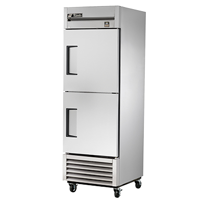 True Stainless Steel One-Section Two Solid Half Door Reach-In Freezer