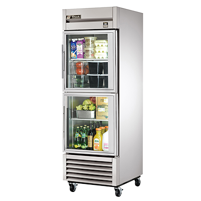 superior-equipment-supply - True Food Service Equipment - True Stainless Steel One-Section Two Glass Half Door Reach-In Refrigerator