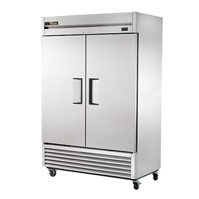 True Stainless Steel Two-Section Two Solid Door Reach-In Freezer