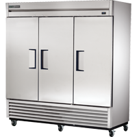 True Three-Section Three Stainless Steel Door Reach-In Refrigerator