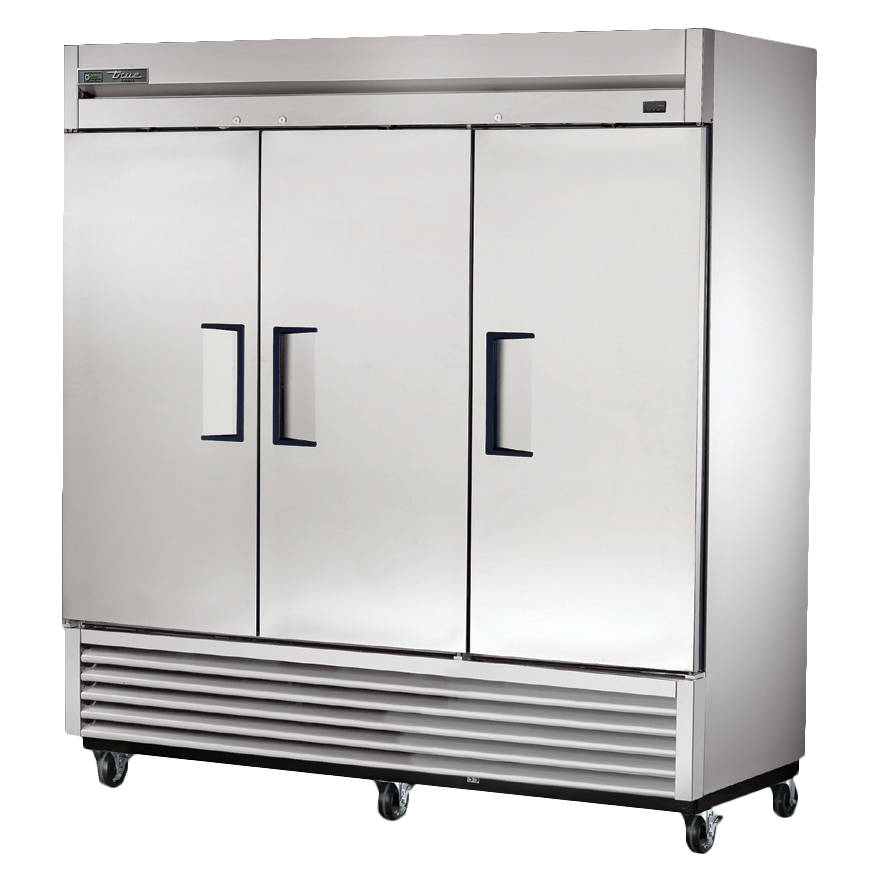 True Stainless Steel Three-Section Three Solid Door Reach-In Freezer