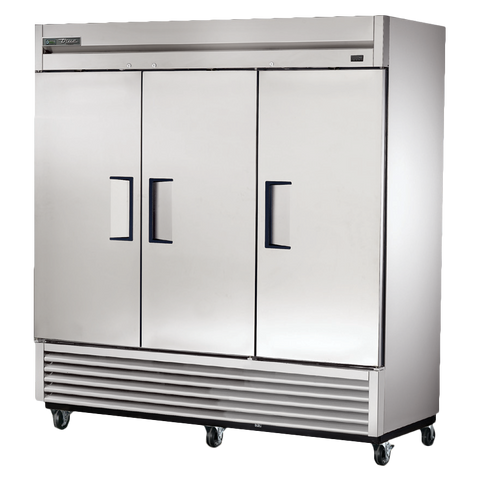True Three-Section Three Stainless Steel Door Reach-In Freezer