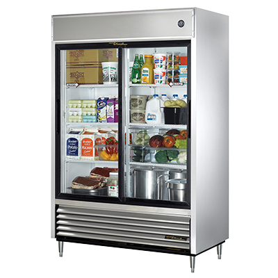 superior-equipment-supply - True Food Service Equipment - True Stainless Steel Two-Section Two Glass Sliding Door Reach-In Refrigerator