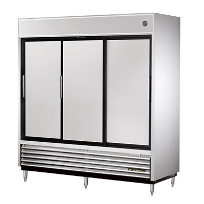 True Three-Section Three Stainless Steel Sliding Door Reach-In Refrigerator