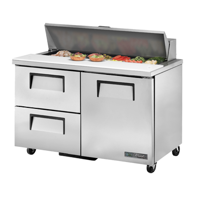 "True Stainless Steel Two Section Two Drawer 48"" Wide Sandwich/Salad Unit"