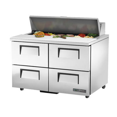 "superior-equipment-supply - True Food Service Equipment - True Stainless Steel Two Section Four Drawer 48"" Wide Sandwich/Salad Unit"