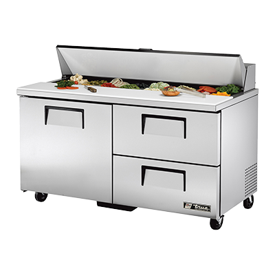 "superior-equipment-supply - True Food Service Equipment - True Stainless Steel Two Section Two Drawer 60"" Wide Sandwich/Salad Unit"