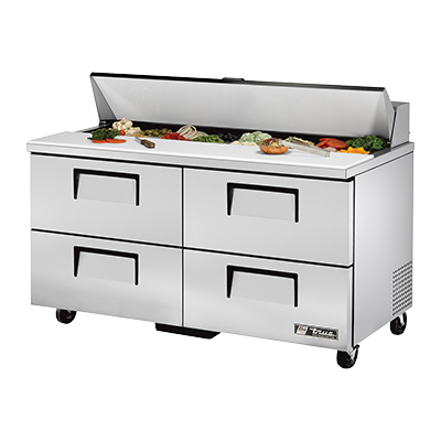 "superior-equipment-supply - True Food Service Equipment - True Stainless Steel Two Section Four Drawer 60"" Wide Sandwich/Salad Unit"
