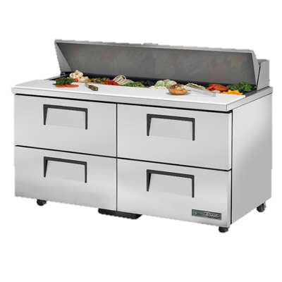 "superior-equipment-supply - True Food Service Equipment - True Stainless Steel Two Section Four Drawer 60"" Wide ADA Sandwich/Salad Unit"
