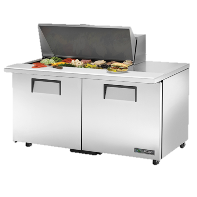 "superior-equipment-supply - True Food Service Equipment - True Stainless Steel Eighteen 4"" Deep Poly Pan Capacity 60"" Wide ADA Mega Top Sandwich/Salad Unit"