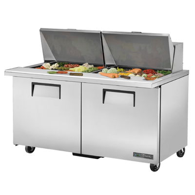 "True Stainless Steel 60"" Wide Mega Top Sandwich/Salad Unit With Twenty Four 4"" Deep Poly Pans"