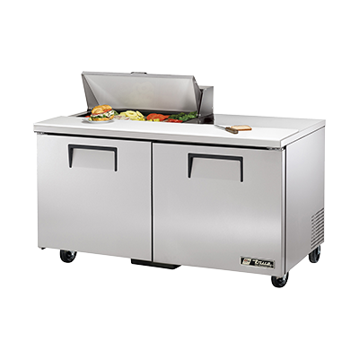 "superior-equipment-supply - True Food Service Equipment - True Stainless Steel 60"" Wide Sandwich/Salad Unit Eight 4"" Deep Poly Pans"