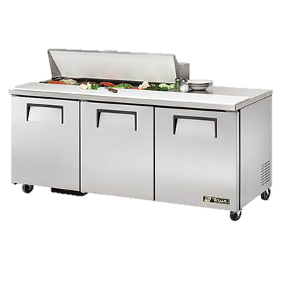 "superior-equipment-supply - True Food Service Equipment - True Stainless Steel 72"" Wide Sandwich/Salad Unit With Twelve 4"" Deep Poly Pans"
