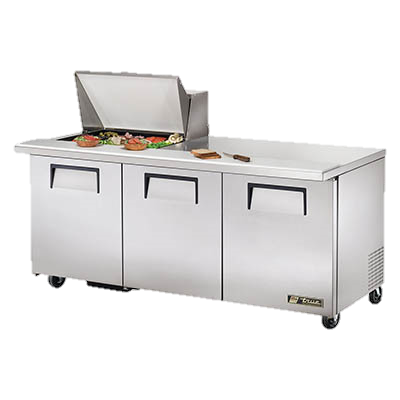 "superior-equipment-supply - True Food Service Equipment - True Stainless Steel Three Section 72"" Wide Mega Top Sandwich/Salad Unit"
