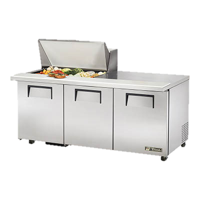 "superior-equipment-supply - True Food Service Equipment - True Stainless Steel 72"" Wide ADA Mega Top Sandwich/Salad Unit With Fifteen 4"" Deep Poly Pans"