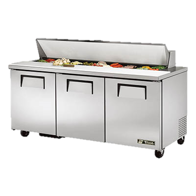 "superior-equipment-supply - True Food Service Equipment - True Stainless Steel Capacity 72"" Wide Sandwich/Salad Unit With Eighteen 4"" Deep Poly Pans"