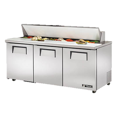 "superior-equipment-supply - True Food Service Equipment - True Stainless Steel 72"" Wide ADA Sandwich/Salad Unit With Eighteen 4"" Deep Poly Pans"