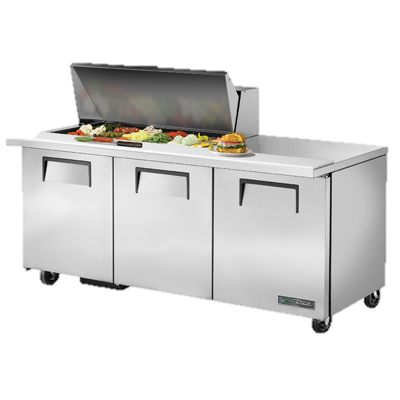 "superior-equipment-supply - True Food Service Equipment - True Stainless Steel 72"" Wide Mega Top Sandwich/Salad Unit With Eighteen 4"" Deep Poly Pans"