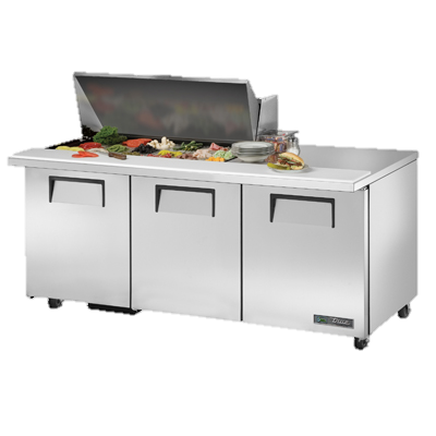 "superior-equipment-supply - True Food Service Equipment - True Stainless Steel 72"" Wide ADA Mega Top Sandwich/Salad Unit With Eighteen 4"" Deep Poly Pans"