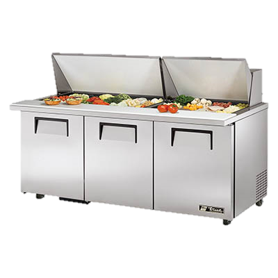 "superior-equipment-supply - True Food Service Equipment - True Stainless Steel 72"" Wide ADA Mega Top Sandwich/Salad Unit With Thirty 4"" Deep Poly Pans"