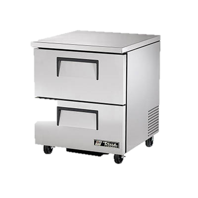 "superior-equipment-supply - True Food Service Equipment - True Stainless Steel One Section Two Drawer 27"" Wide Undercounter Freezer"