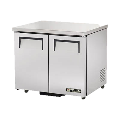 "superior-equipment-supply - True Food Service Equipment - True Stainless Steel Two Section 36"" Wide ADA Compliant Undercounter Refrigerator"