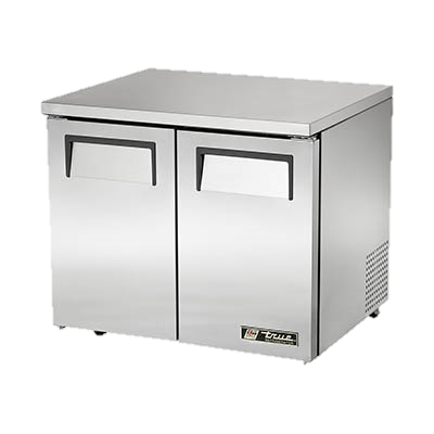 "superior-equipment-supply - True Food Service Equipment - True Stainless Steel Two Section 36"" Wide Low Profile Undercounter Refrigerator"