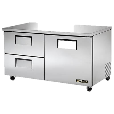 "superior-equipment-supply - True Food Service Equipment - True Stainless Steel 60"" Wide Two Section Two Drawer Undercounter Refrigerator"