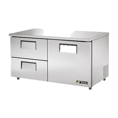 "superior-equipment-supply - True Food Service Equipment - True Stainless Steel 60"" Wide Two Section Two Drawer ADA Undercounter Refrigerator"