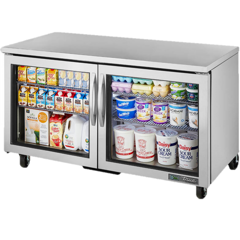 "superior-equipment-supply - True Food Service Equipment - True Stainless Steel Two Section 60"" Wide Undercounter Refrigerator"