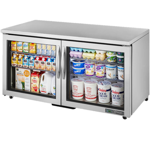 "superior-equipment-supply - True Food Service Equipment - True Stainless Steel Two Section 60"" Wide ADA Undercounter Refrigerator"